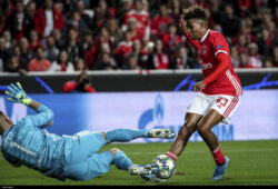 Lisbon, 10/23/2019 - Sport Lisboa e Benfica hosted Olympique Lyonnais tonight at the Estádio da Luz in Lisbon, in a match counting for the third round of the 2019/20 Champions League group stage. Anthony Lopes, Gedson Fernandes (Filipe Amorim / Global Images/Sipa USA)