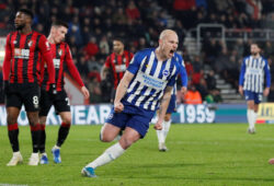 """Soccer Football - Premier League - AFC Bournemouth v Brighton & Hove Albion - Vitality Stadium, Bournemouth, Britain - January 21, 2020  Brighton & Hove Albion's Aaron Mooy celebrates scoring their first goal   REUTERS/David Klein  EDITORIAL USE ONLY. No use with unauthorized audio, video, data, fixture lists, club/league logos or """"live"""" services. Online in-match use limited to 75 images, no video emulation. No use in betting, games or single club/league/player publications.  Please contact your account representative for further details.  X06540"""