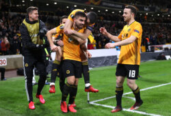 Soccer Football - Europa League - Round of 32 First Leg - Wolverhampton Wanderers v Espanyol - Molineux Stadium, Wolverhampton, Britain - February 20, 2020   Wolverhampton Wanderers' Ruben Neves celebrates scoring their second goal with Conor Coady, Diogo Jota and teammates   Action Images via Reuters/Carl Recine  X03807