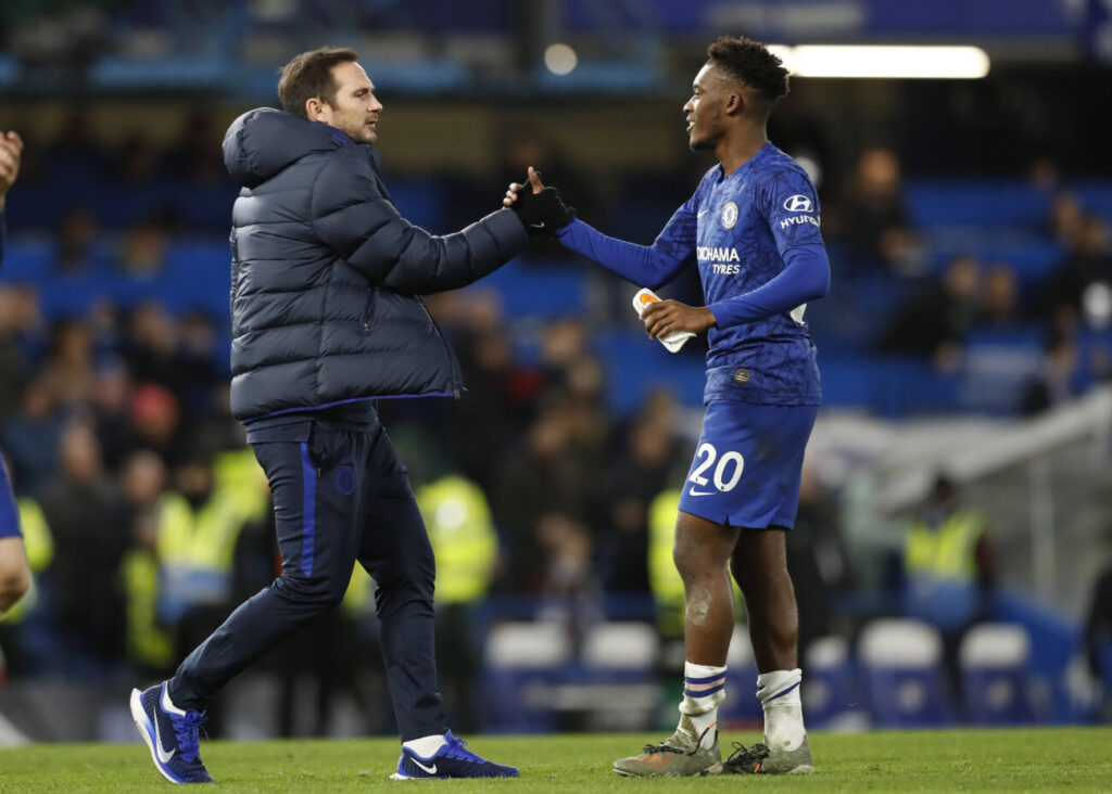 11th January 2020 Stamford Bridge, London, England English Premier League Football, Chelsea versus Burnley Chelsea Manager Frank Lampard congratulating Callum Hudson-Odoi of Chelsea after full time - Strictly Editorial Use Only. No use with unauthorized audio, video, data, fixture lists, club/league logos or live services. Online in-match use limited to 120 images, no video emulation. No use in betting, games or single club/league/player publications PUBLICATIONxINxGERxSUIxAUTxHUNxSWExNORxDENxFINxONLY ActionPlus12202960 JohnxPatrickxFletcher
