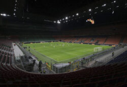 In this Feb. 27, 2020, file photo, a general view inside the empty San Siro stadium in Milan, Italy during the Europa League round of 32 second leg soccer match between Inter Milan and Ludogorets. Inter beat Ludogorets 2-1 in an empty stadium as a precaution because of the virus outbreak in Italy. (Emilio Andreoli, UEFA via AP)  ASIA711