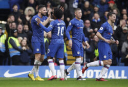 Chelsea's Olivier Giroud, left, celebrates with Chelsea's Willian, second from left, after scoring his side's fourth goal during the English Premier League soccer match between Chelsea and Everton at Stamford Bridge stadium in London, Sunday, March 8, 2020. (AP Photo/Matt Dunham)  XPAG126