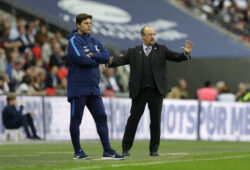 Newcastle United's manager Rafael Benitez, right, and Tottenham Hotspur's manager Mauricio Pochettino watch their players during the English Premier League soccer match between Tottenham Hotspur and Newcastle United at Wembley Stadium, in London, England, Wednesday, May 9, 2018. (AP Photo/Alastair Grant)