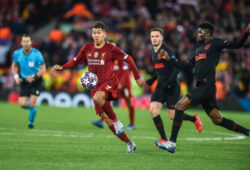 Liverpool v Atletico Madrid UEFA Champions League Roberto Firmino of Liverpool and Thomas Partey of Atletico Madrid chase a loose ball during the UEFA Champions League match at Anfield, Liverpool PUBLICATIONxNOTxINxUKxCHN Copyright: xMattxWilkinsonx FIL-14217-0055