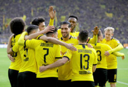 29.02.2020, Fussball, Saison 2019/2020, Bundesliga, 24. Spieltag - Borussia Dortmund - SC Freiburg v. l. Axel Witsel Borussia Dortmund, Achraf Hakimi Borussia Dortmund, Jadon Sancho Borussia Dortmund. Emre Can Borussia Dortmund, Dan-Axel Zagadou Borussia Dortmund, Raphael Guerreiro Borussia Dortmund, Thorgan Hazard Borussia Dortmund, Julian Brandt Borussia Dortmund bejubeln den Treffer zum 1:0. DFL REGULATIONS PROHIBIT ANY USE OF PHOTOGRAPHS AS IMAGE SEQUENCES AND/OR QUASI-VIDEO. Dortmund Signal Iduna Park NRW Deutschland xRHR-FOTO/DEx *** 29 02 2020, Football, Season 2019 2020, Bundesliga, 24 Matchday Borussia Dortmund SC Freiburg v l Axel Witsel Borussia Dortmund , Achraf Hakimi Borussia Dortmund , Jadon Sancho Borussia Dortmund Emre Can Borussia Dortmund , Dan Axel Zagadou Borussia Dortmund , Raphael Guerreiro Borussia Dortmund , Thorgan Hazard Borussia Dortmund , Julian Brandt Borussia Dortmund celebrate the goal for 10 DFL REGULATIONS PROHIBIT ANY USE OF PHOTOGRAPHS AS IMAGE SEQUENCES AND OR QUASI VIDEO Dortmund Signal Iduna Park NRW Germany xRHR FOTO DEx