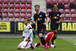 Leipzig's Timo Werner celebrates scoring their fourth goal during a German Bundesliga soccer match between FSV Mainz 05 and RB Leipzig in Mainz, Germany, Sunday, May 24, 2020.  (Kai Pfaffenbach/pool via AP)  PRO111