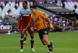 June 20, 2020, London, United Kingdom: Raul Jimenez of Wolverhampton Wanderers celebrates scoring the first goal during the Premier League match at the London Stadium, London. Picture date: 20th June 2020. Picture credit should read: David Klein/Sportimage.