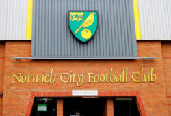 Norwich City Football Club directors entrance and badge at Carrow Road, Norwich, Norfolk, England.