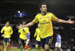 Arsenal's Sokratis Papastathopoulos celebrates after scoring his side's first goal during the English FA Cup fifth round soccer match between Portsmouth and Arsenal at Fratton Park stadium in Portsmouth, England, Monday, March 2, 2020. (AP Photo/Kirsty Wigglesworth)  XKW110