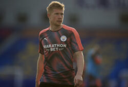 Manchester City's Kevin De Bruyne warms up ahead of the English Premier League soccer match between Brighton and Manchester City at the Falmer stadium in Brighton, England, Saturday, July 11, 2020. (Adam Davy/Pool via AP)  XDB124