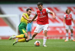 """Soccer Football - Premier League - Arsenal v Norwich City - Emirates Stadium, London, Britain - July 1, 2020 Arsenal's Dani Ceballos in action with Norwich City's Mario Vrancic, as play resumes behind closed doors following the outbreak of the coronavirus disease (COVID-19) Shaun Botterill/Pool via REUTERS  EDITORIAL USE ONLY. No use with unauthorized audio, video, data, fixture lists, club/league logos or """"live"""" services. Online in-match use limited to 75 images, no video emulation. No use in betting, games or single club/league/player publications.  Please contact your account representative for further details.  X01348"""