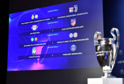 Soccer Football - Champions League Quarter-Final and Semi-Final Draw - Nyon, Switzerland - July 10, 2020  General view of the Champions League Quarter Final draw  UEFA Pool/Handout via REUTERS    ATTENTION EDITORS - THIS IMAGE HAS BEEN SUPPLIED BY A THIRD PARTY. NO RESALES. NO ARCHIVES  X80001