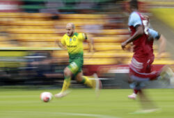 In this image shot with a slow shutter speed Norwich City's Teemu Pukki makes a run towards goal during the English Premier League soccer match between Norwich City and West Ham at the Carrow Road stadium in Norwich, England, Saturday, July 11, 2020. (AP Photo/Ian Walton, Pool)  XVG203