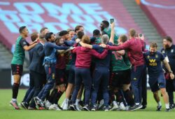 Aston Villa players and staff celebrate after they draw with West Ham and avoid relegation during the Premier League match at the London Stadium, London. Picture date: 26th July 2020. Picture credit should read: Paul Terry/Sportimage PUBLICATIONxNOTxINxUK SPI-0613-0022