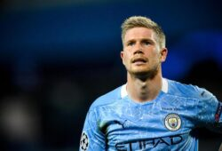 epa08590609 Manchester City's Kevin De Bruyne looks on during the UEFA Champions League Round of 16 second leg soccer match between Manchester City and Real Madrid in Manchester, Britain, 07 August 2020.  EPA-EFE/Peter Powell / POOL