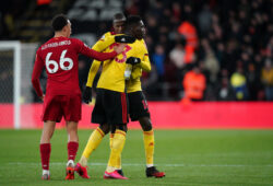 Trent Alexander-Arnold of Liverpool shoves Ismaila Sarr as he embraces Abdoulaye Doucoure of Watford before bering substituted during the Premier League match between Watford and Liverpool at Vicarage Road, Watford, England on 29 February 2020. PUBLICATIONxNOTxINxUK Copyright: xAndyxRowlandx PMI-3414-0023