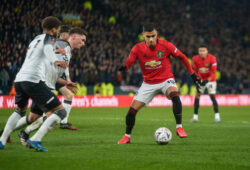 Derby County v Manchester United, ManU FA Cup Andreas Pereira of Manchester United takes on the Derby County defence during the FA Cup match at Pride Park Stadium, Derby PUBLICATIONxNOTxINxUKxCHN Copyright: xMattxWilkinsonx FIL-14193-0071