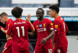 Sadio Mane of Liverpool celebrates his goal with teammates during the Premier League match between Newcastle United and Liverpool Football Stadiums around remain empty due to the Covid-19 Pandemic as Government social distancing laws prohibit supporters inside venues resulting in all fixtures being played behind closed doors until further notice at St. James s Park, Newcastle, England on 26 July 2020. PUBLICATIONxNOTxINxUK Copyright: xAndyxRowlandx PMI-3546-0072