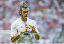 epa04872075 Gareth Bale of Real Madrid celebrates scoring the 2-0 during the Audi Cup soccer friendly between Real Madrid and Tottenham Hotspur in Munich, Germany, 4 August 2015.  EPA/MARC MUELLER