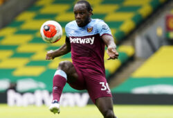 epa08540119 Michail Antonio of West Ham during the English Premier League match between Norwich City and West Ham United in Norwich, Britain, 11 July 2020.  EPA-EFE/Tim Keeton/NMC/Pool EDITORIAL USE ONLY. No use with unauthorized audio, video, data, fixture lists, club/league logos or 'live' services. Online in-match use limited to 120 images, no video emulation. No use in betting, games or single club/league/player publications.