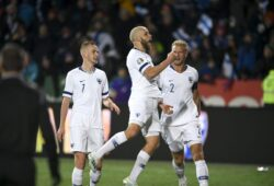 Teemu Pukki of Finland, center, celebrates his goal with teammates Jasse Tuominen, left, and Paulus Arajuuri during the Euro 2020 Group J qualifying soccer match between Finland and Liechtenstein in Helsinki, Finland, on Friday, Nov. 15, 2019. (Martti Kainuleinen/Lehtikuva via AP)  LLT811