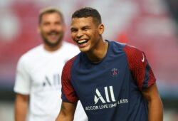 Mandatory Credit: Photo by Julian Finney - UEFA/SIPA/Shutterstock (10753440be) Thiago Silva of Paris Saint-Germain reacts during a training session ahead of their UEFA Champions League Final match against Bayern Munich at Estadio do Sport Lisboa e Benfica on August 22, 2020 in Lisbon, Portugal. Paris Saint-Germain v FC Bayern Munich, Football, UEFA Champions League final training session, Lisbon, Portugal - 22 Aug 2020