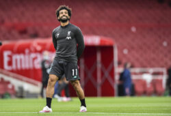 Liverpool's Mohamed Salah warms up prior the English Premier League soccer match between Arsenal and Liverpool at the Emirates Stadium in London, England, Wednesday, July 15, 2020. (Glyn Kirk/Pool via AP)  BA