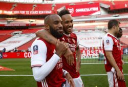 Editorial Use Only Mandatory Credit: Photo by Eddie Keogh for The FA/Shutterstock (10729329fg) Pierre-Emerick Aubameyang and Alexandre Lacazette of Arsenal after winning The FA Cup Arsenal v Chelsea FA Cup Final football match, Wembley Stadium, London, UK - 01 Aug 2020