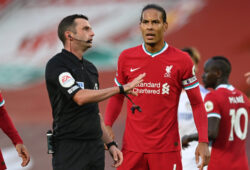 Soccer Football - Premier League - Liverpool v Leeds United - Anfield, Liverpool, Britain - September 12, 2020 Liverpool's Virgil van Dijk remonstrates with referee Michael Oliver after a goal is disallowed. Pool via REUTERS/Shaun Botterill EDITORIAL USE ONLY. No use with unauthorized audio, video, data, fixture lists, club/league logos or 'live' services. Online in-match use limited to 75 images, no video emulation. No use in betting, games or single club/league/player publications.  Please contact your account representative for further details.  X01348