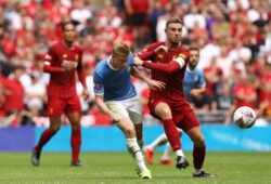 Jordan Henderson of Liverpool and Kevin De Bruyne of Manchester City in action during the FA Community Shield match between Liverpool and Manchester City at Wembley Stadium. (Final Score: Liverpool 4-5 Manchester City, Penalties) (Photo by Richard Calver / SOPA Images/Sipa USA)