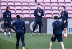 April 15, 2019 - Barcelona, Catalonia, Spain - 17 Fred of Manchester United, 20 Diogo Dalot of Manchester United, 15 Andreas Pereira of Manchester United during the training session before the second leg Champions League match of Quarter final between FC Barcelona and Manchester United in Camp Nou Stadium in Barcelona 15 of April of 2019, Spain.
