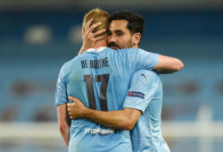 FILE PHOTO: Soccer Football - Champions League - Round of 16 Second Leg - Manchester City v Real Madrid - Etihad Stadium, Manchester, Britain - August 7, 2020 Manchester City's Ilkay Gundogan and Kevin De Bruyne after the match, as play resumes behind closed doors following the outbreak of the coronavirus disease (COVID-19) Pool via REUTERS/Oli Scarff/File Photo  X01348