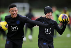 FILE PHOTO: Soccer Football - Euro Under 21 Qualifier - England Under 21 Training - St. George's Park, Burton upon Trent, Britain - November 11, 2019   England's Phil Foden and Mason Greenwood during training   Action Images via Reuters/Carl Recine /File Photo  X03807