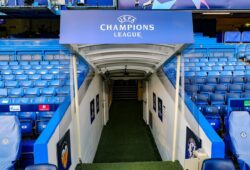 Editorial use only Mandatory Credit: Photo by Nigel Keene/ProSports/Shutterstock (10416479c) The Champions League logo above the tunnel ahead of the Champions League match between Chelsea and Valencia CF at Stamford Bridge, London Chelsea v Valencia CF, Champions League., Group Stage - 17 Sep 2019