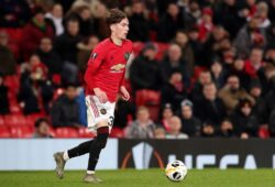 Editorial Use Only Mandatory Credit: Photo by Paul Greenwood/BPI/Shutterstock (10501795dc) James Garner of Manchester United Manchester United v AZ Alkmaar, UEFA Europa League, Group L, Football, Old Trafford, UK - 12 Dec 2019