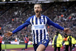 Brighton and Hove Albion's Glenn Murray celebrates scoring his side's third goal of the game against West Ham United during their English Premier League soccer match at the London Stadium in London, Saturday Feb. 1, 2020. (John Walton/PA via AP)  WRC828