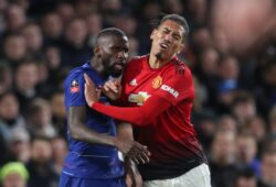 Antonio Rudiger of Chelsea and Chris Smalling of Manchester United clash