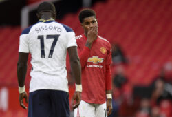 Manchester United's Marcus Rashford reacts during the English Premier League soccer match between Manchester United and Tottenham Hotspur at Old Trafford in Manchester, England, Sunday, Oct. 4, 2020. (Oli Scarff/Pool via AP)  XAF207