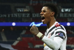 Soccer Football - Champions League - Group H - Paris St Germain v Manchester United - Parc des Princes, Paris, France - October 20, 2020 Manchester United's Marcus Rashford celebrates scoring their second goal REUTERS/Gonzalo Fuentes  X07238