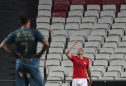 Lisbon, 09/02/2020 - Sport Lisboa e Benfica hosted Sporting Clube de Braga at Estádio da Luz tonight, in a game of preparation for the 2020/2021 season. Carlos Vinícius goal celebration (2-1) (Filipe Amorim / Global Imagens)