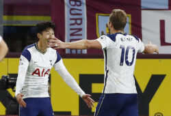 Soccer Football - Premier League - Burnley v Tottenham Hotspur - Turf Moor, Burnley, Britain - October 26, 2020 Tottenham Hotspur's Son Heung-min celebrates scoring their first goal with Harry Kane Pool via REUTERS/Jason Cairnduff EDITORIAL USE ONLY. No use with unauthorized audio, video, data, fixture lists, club/league logos or 'live' services. Online in-match use limited to 75 images, no video emulation. No use in betting, games or single club /league/player publications.  Please contact your account representative for further details.  X03805