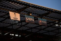 Mandatory Credit: Photo by RemotePhotoPress/Shutterstock (10750880dv) Logo Uefa europa League, Uefa, RESPECT Sevilla v Inter Milan, UEFA Europa League Final, RheinEnergieSTADION, Cologne, Germany - 21 Aug 2020