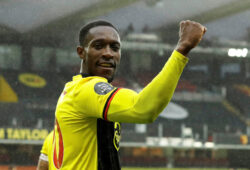 "FILE PHOTO: Soccer Football - Premier League - Watford v Norwich City - Vicarage Road, Watford, Britain - July 7, 2020 Watford's Danny Welbeck celebrates scoring their second goal, as play resumes behind closed doors following the outbreak of the coronavirus disease (COVID-19)  Matt Dunham/Pool via REUTERS  EDITORIAL USE ONLY. No use with unauthorized audio, video, data, fixture lists, club/league logos or ""live"" services. Online in-match use limited to 75 images, no video emulation. No use in betting, games or single club/league/player publications.  Please contact your account representative for further details./File Photo  X01449"