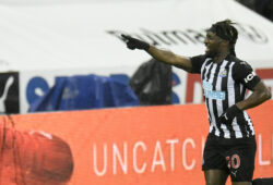 Newcastle's Allan Saint-Maximin celebrates after scoring his side's opening goal during the English Premier League soccer match between Newcastle United and Burnley at St. James' Park in Newcastle, England, Saturday, Oct. 3, 2020. (Peter Powell/Pool via AP)  XDMV140