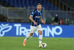 Mandatory Credit: Photo by Giuseppe Fama/Shutterstock (10716814e) Milan Skriniar (Inter) in action during the Serie A Tim match between AS Roma and FC International at Stadio Olimpico Roma v Internazionale football match, Serie A, Rome Stadio Olimpico, Italy  - 19 Jul 2020