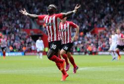 Sadio Mane of Southampton celebrates scoring the opening goal.