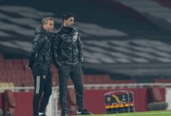 """Mandatory Credit: Photo by CHINE NOUVELLE/SIPA/Shutterstock (11002773q) Arsenal's manager Mikel Arteta (R) stands on the pitchside during the UEFA Europa League Group B match between Arsenal FC and Molde FK at the Emirates Stadium in London, Britain, on Nov. 5, 2020. (Xinhua) FOR EDITORIAL USE ONLY. NOT FOR SALE FOR MARKETING OR ADVERTISING CAMPAIGNS. NO USE WITH UNAUTHORIZED AUDIO, VIDEO, DATA, FIXTURE LISTS, CLUB/LEAGUE LOGOS OR """"LIVE"""" SERVICES. ONLINE IN-MATCH USE LIMITED TO 45 IMAGES, NO VIDEO EMULATION. NO USE IN BETTING, GAMES OR SINGLE CLUB/LEAGUE/PLAYER PUBLICATIONS. - Han Yan - Britain London Football Uefa Europa League Arsenal Fc vs Molde Fk - 05 Nov 2020"""