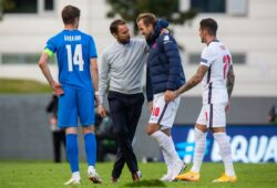 Mandatory Credit: Photo by Arni Torfason/BPI/Shutterstock (10766559cg) Gareth Southgate manager of England and Harry Kane of England at full time Iceland v England, UEFA Nations League Group A2, International Football, Laugardalsvollur, Reykjavik, Iceland - 05 Sep 2020