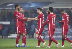 Liverpool's Diogo Jota, center, celebrates after scoring his second goal against Atalanta during the Champions League, group D soccer match between Atalanta and Liverpool, at the Gewiss Stadium in Bergamo, Italy, Tuesday, Nov. 3, 2020. (Stefano Nicoli/LaPresse via AP)  TH806