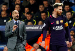 FILE PHOTO: Britain Football Soccer - Manchester City v FC Barcelona - UEFA Champions League Group Stage - Group C - Etihad Stadium, Manchester, England - 1/11/16  Manchester City manager Pep Guardiola and Barcelona's Lionel Messi   Action Images via Reuters / Jason Cairnduff  Livepic  EDITORIAL USE ONLY./File Photo  X03805